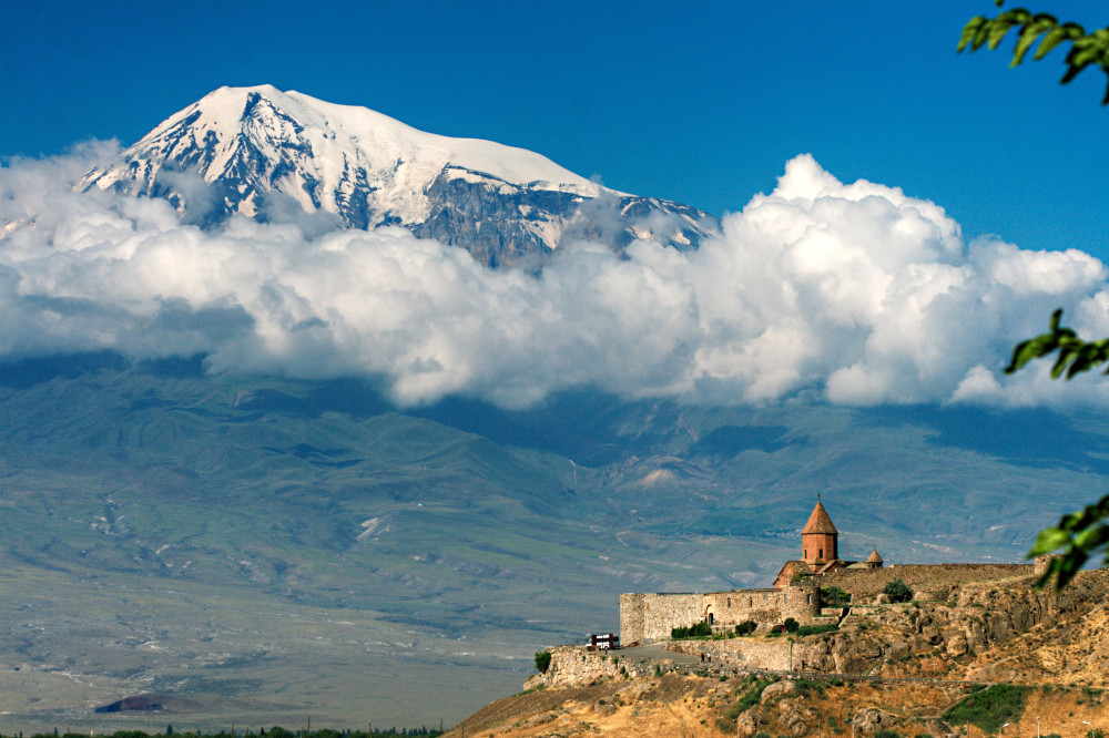 The bigger of the two peaks that make up Mount Ararat, with the monastery of Khor Virap in the foreground, right on the Armenian-Turkish border