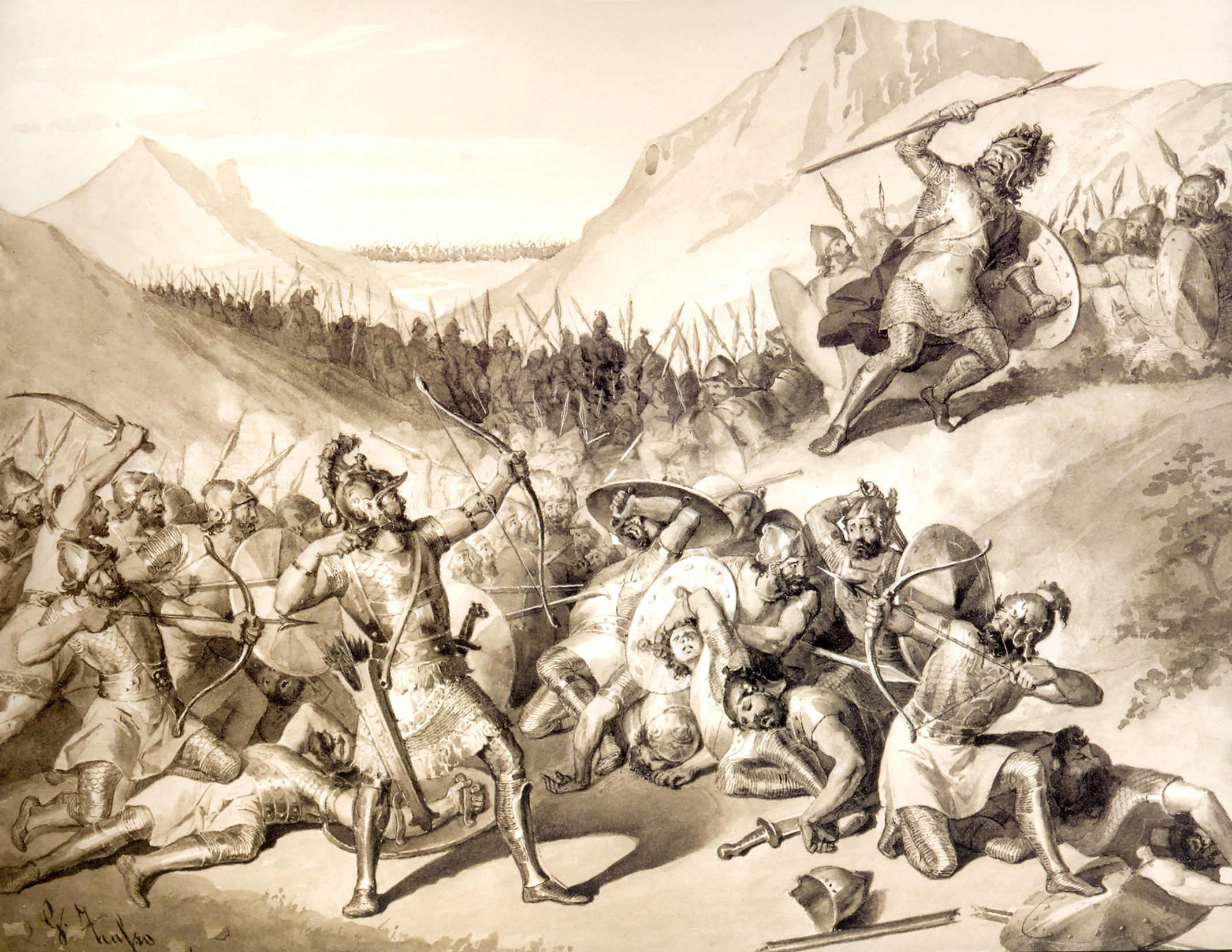 A painting portraying Hayk's victory over Bel by the Italian Giuliano Zasso (1833-1889)