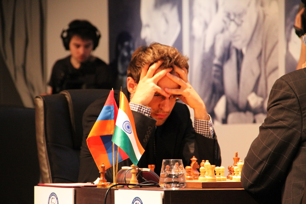 Levon Aronian (up against Indian chess powerhouse Viswanathan Anand) during the Alekhine Memorial 2013; Aronian won the tournament that year
