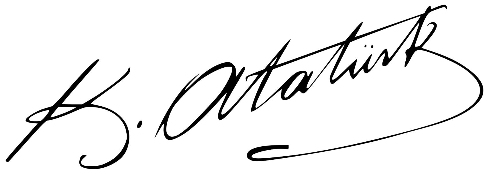 The official signature of Mustafa Kemal Atatürk, designed by Hagop Çerçiyan in 1934